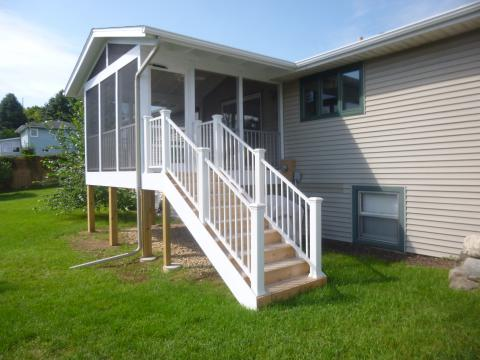Deck converted into a screened in porch